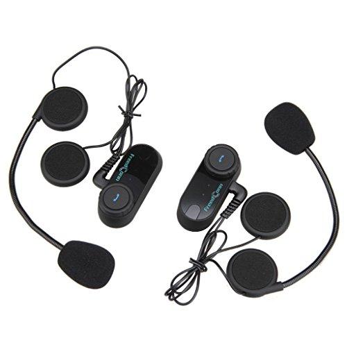 Paquete 2 Intercomunicador Inalambrico 800m Intercom Interfono (Entre 2 Pilotos, Bluetooth, A2DP, Manos Libres, FM Radio) Auricular Casco para Moto Motociclista