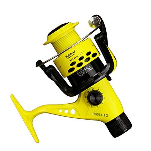 Weesey 12BB CTR 2000-7000 - Mulinello da Pesca 5,5:1, con Braccio Pieghevole, Leggero, con Frizione Posteriore, Mulinello da Pesca in Alluminio, Yellow, CTR7000