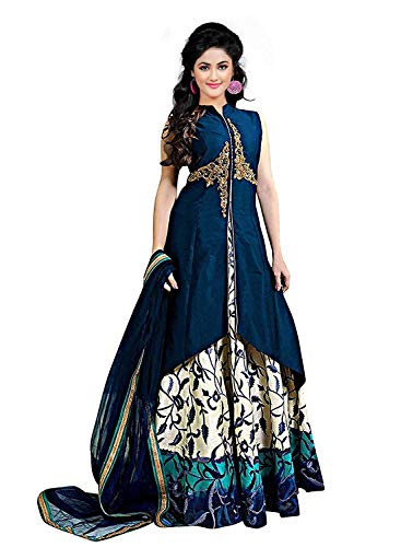 7 Horse selection Women's Banglori silk lehenga for partywear Multi colour,Large (Blue)