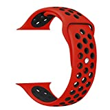 ZRO Smartwatch Cinturino, Morbido Silicone Sport Cinturini di Ricambio per Apple iWatch Serie 2/ Serie 1 38mm S/M, Rosso/Nero