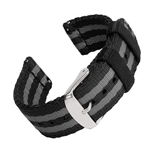 Archer Watch Straps   Cintura di Sicurezza Cinturino di Nylon Ricambio Sgancio Rapido Cinghia Orologio per Donne e Uomini, Orologi e Smartwatch   Nero e Grigio (James Bond), 22mm