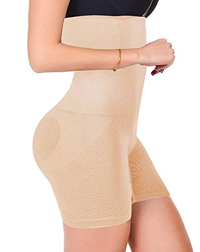 Fitonday Women Waist Trainer Shapewear High Waist Tummy Control Butt Lifter Panty Thigh Slimmer Beige