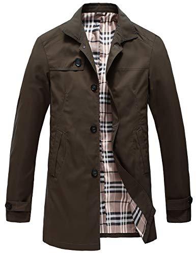 Pinkpum Man Trench Coat Cappotto Classico Primavera Estate Autunno Giacca in Poliestere Sottile Giacche Giacca Leggera da Uomo Marrone L