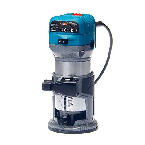 KATSU 101750 Fresatrice per giunzioni rifilatore elettrico a mano per legno laminati 220V 6mm, 8mm,...