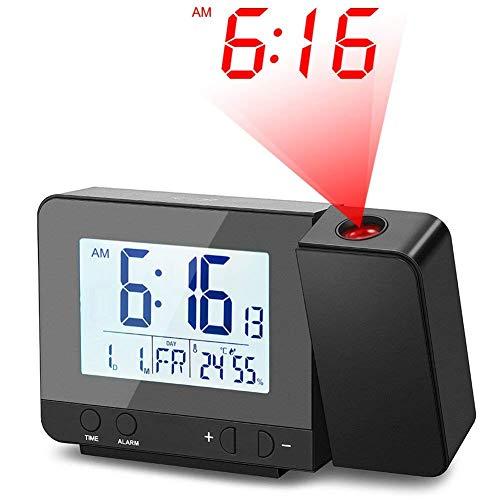 Deofde Sveglia con proiezione, Sveglia Digitale con Ampio Display LCD, Orologio Digitale con Doppio...