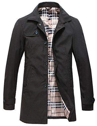 Pinkpum Man Trench Coat Cappotto Classico Primavera Estate Autunno Giacca in Poliestere Sottile Giacche Giacca Leggera da Uomo Nero M