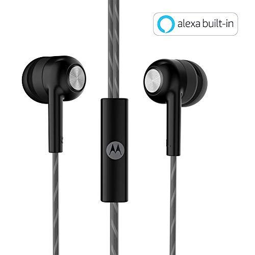 Motorola Pace 110 in-Ear Headphones with Mic, Extra Bass & Alexa Built-in(Black)