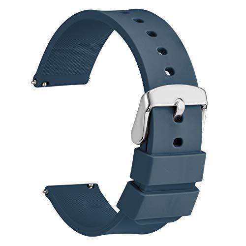 WOCCI 20mm Cinturino Orologio in Silicone, Sgancio Rapido Ricambio (Blu scuro)