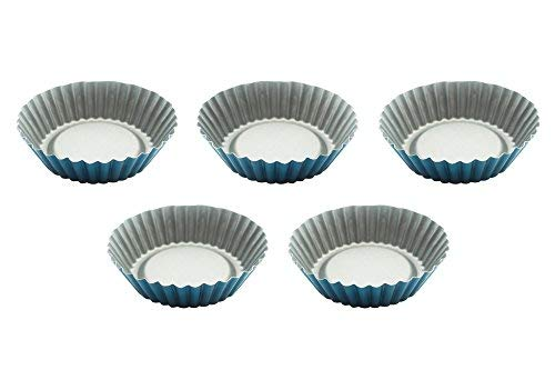 Eco Haus Living Mini Tart Pan 5 psc Set - 10cm Moulds for Tartlets - Antiaderente Scanalato Tartlet...