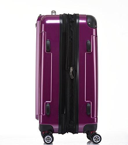 Zwillingsrollen 2048 Hartschale Trolley Koffer Reisekoffer in M-L-XL-Set in 14 Farben (LILA, SET) - 6