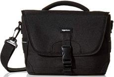 AmazonBasics - Bolsa bandolera para cámaras DSLR y accesorios (tamaño mediano, interior de color naranja), color negro