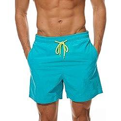FGFD Bañador Hombre Pantalones Corto Deporte Bermudas Secado Rápido Trajes de Baño Hombre Bóxers Playa Shorts (M, Azul Cielo)