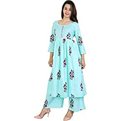 Vaastra Women's Cotton Anarkali Gown (KP1C1-M _Sky Blue_ 38)