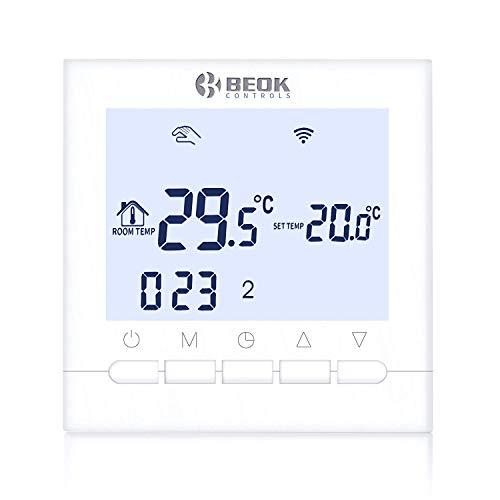 Beok BOT-313 WIFI Thermostat Numérique pour chaudières à gaz, Réglable Intérieur Thermostat d'ambiance Programmable sans fil, avec Écran LCD et commande en ligne via l'application smartphone - Blanc
