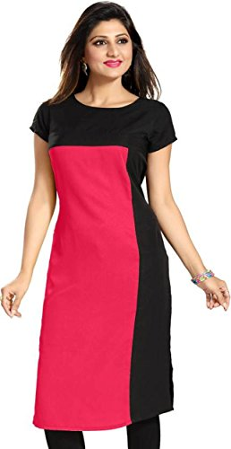 Purple Fashion Women's Crepe Straight Kurta (2313_Pink_XXL)