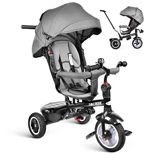 besrey 7 in 1 Triciclo Passeggino per Bambini Triciclo con Maniglione Triciclo a Spinta Bicicletta con Seggiolino Reversibile 360° da 6 Mesi - 6 Anni Grigio + Parapioggia Gratis +Ruota Gomma