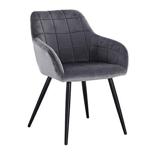 WOLTU® Esszimmerstuhl BH93dgr-1 1 Stück Küchenstuhl Polsterstuhl Wohnzimmerstuhl Sessel mit Armlehne, Sitzfläche aus Samt, Metallbeine, Dunkelgrau