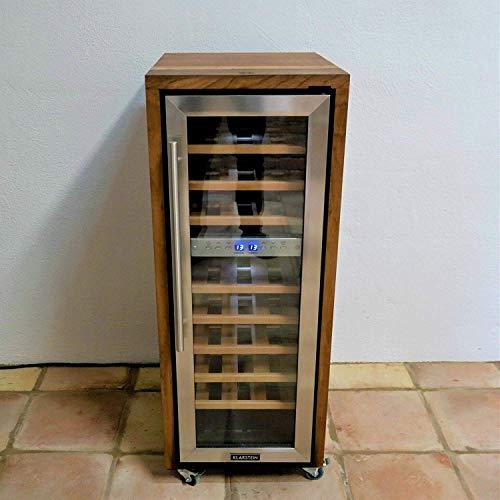 Frigorifero per vino, a 2 zone, con bordo in legno di faggio, realizzato a mano, per 27 bottiglie di...
