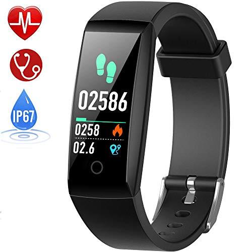 HETP Fitness Armband mit Pulsmesser, Fitness Tracker Uhr Wasserdicht IP67 Blutdruckmesser Schrittzähler Uhr Stoppuhr Sport GPS Aktivitätstracker Anruf SMS für Kinder Damen Männer