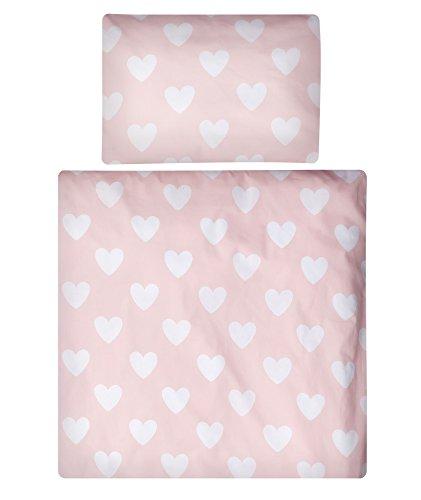 Aminata Kids - Baby-Bettwäsche-Set Bett-Decke 80-x-80-cm Kissen-Bezug 35-x-40 cm Stuben-Wagen oder Kinder-Wagen Wiegen-Set Kinder-Decke Mädchen Baumwolle rosa Rose Weiss Stern-e Herz-en Pastell