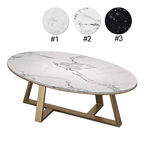 QIANSHI Elegante e Bella Tavolino Elegante e Liscia |Divano Tavolo Comodino Ovale |di Marmo Artificiale |Base Dorata |Decorazione del Salone Durevole