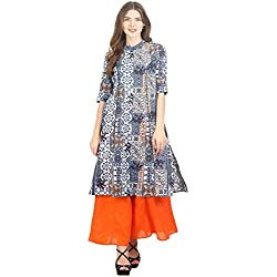La-Firangi Women's Straight Kurta (STYLE659_multicoloured_White and Blue_medium)