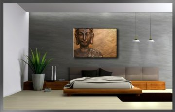 80 x 60 cm cuadro en lienzo buda 4041-VKF -Cuadro impresión, Cuadro decoración 5