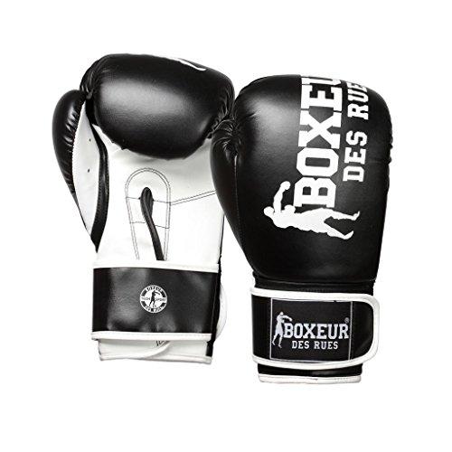 BOXEUR DES RUES Fight Activewear, Guantone da Boxe Impact Sintetico Uomo, Nero, 8 OZ