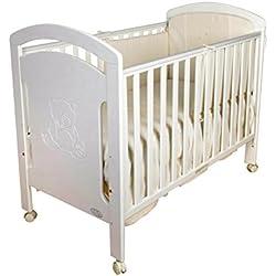 Cuna para bebé, modelo osito + Colchón Viscoelástico + Edredón y Protector de Cuna (regalo oso peluche)