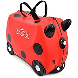 Trunki Valise Enfant à Roulette à Chevaucher et Bagage Cabine - Insectes: Harley la Coccinelle (Rouge)