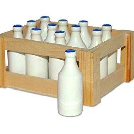7062 Bottiglie del latte small foot in legno, in una nostalgica scatola di legno, set da 12, da 3 an