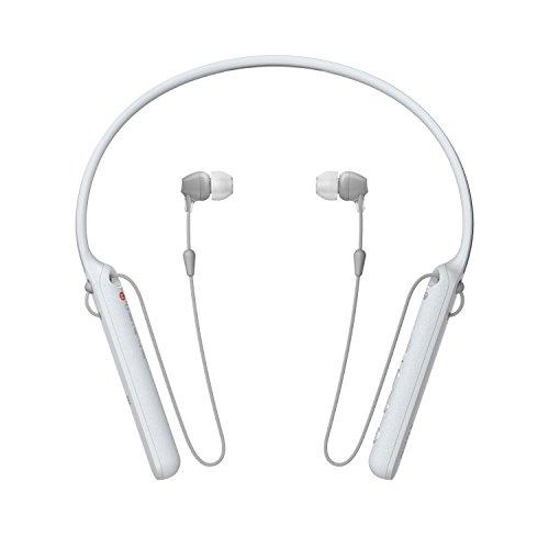 Sony WIC400 - Auriculares Neckband inalámbricos (Cable retráctil, Bluetooth, vibración Llamadas, NFC, 20 Horas de autonomía) Blanco