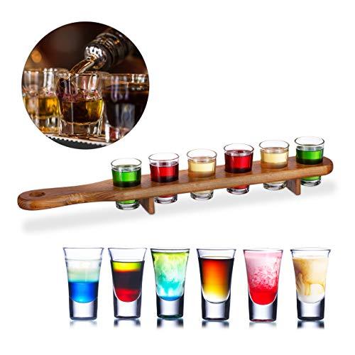 Relaxdays - Portaciuccio in Legno, 6 Bicchierini da liquore, 4 cl, Pratico Tappetino da Grappa,...