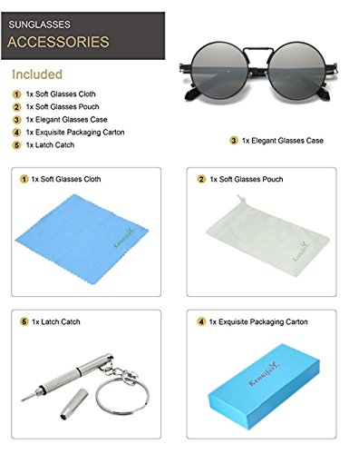 Kennifer-Gafas-de-Sol-Redondas-Ronda-Marco-de-Metal-Eyewear-Crculo-Espejo-Gafas-UV400-Para-Hombres-y-Mujeres