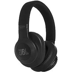 JBL E55BT - Auriculares Bluetooth supraaurales plegables con cable y control remoto universal, batería de hasta 20 h, negro