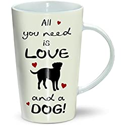 All You Need Is Love & A Dog - Latte Mug by Otter House