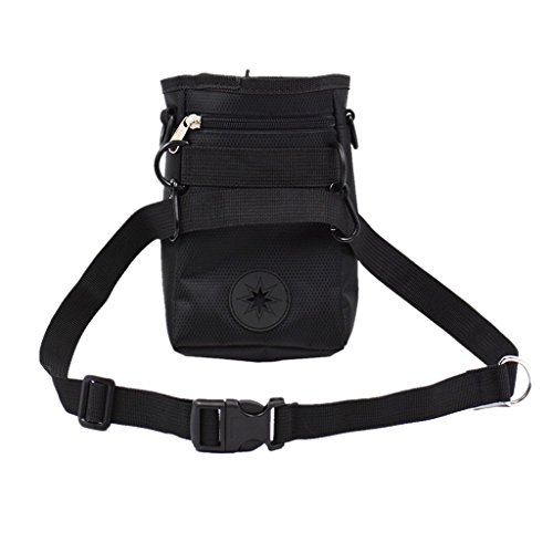 Dog Training Snack Treat Bag Pet Portable Waist Pouch with Buckle Belt -Black, 11.5x5.5x17 cm
