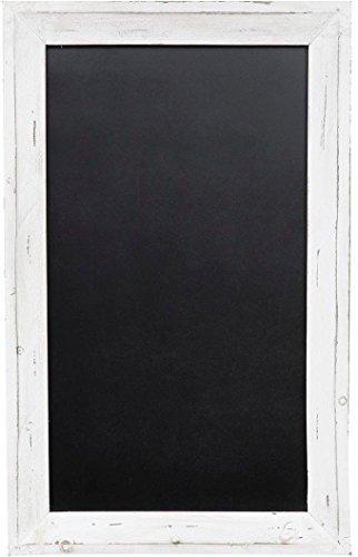 Lavagna da parete verticale/orizzontale con cornice in legno finitura bianca anticata 50x3x80 cm