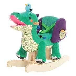 Caballo Mecedora para niños - Cocodrilo Verde, de Madera con Relleno de Tela, Juegos Infantiles de mecedoras