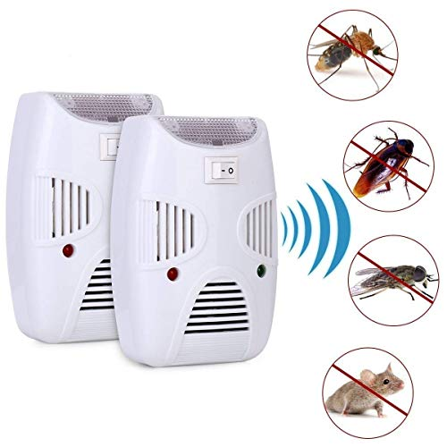 VIHAX Ultrasonic Pest Repeller Repellent, Home Pest Control Reject Device Non-Toxic Spider Lizard Mice Repellent Indoor for Mosquito, Ant, Flea, Rats, Roaches,Cockroaches,Fruit Fly, Rodent (2)