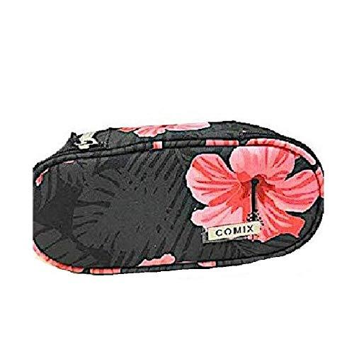 Astuccio Scuola Ovale Organizzato Comix All Over Flower Fiori Rosa 21x9x6 cm