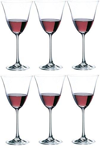 Rona: Flora-Set di 6 bicchieri da vino bianco in vetro con stelo esagonale-Flute da liquore