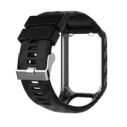 JIALONGZI - Cinturino di Ricambio in Gel di Silicone per smartwatch Tomtom Runner 2/Runner 3/Spark 3/Adventurer/Golfer 2 Sport GPS Running, Nero