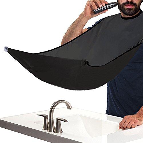 JT JUSTIME Bartschürze,Barttuch Rasur Schürze für eine saubere Rasur, Glatt Leicht Wasserdicht-Haare auffangen Mann (Black)
