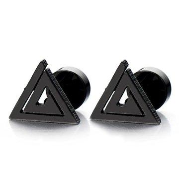 Unisexo Negro Triángulo Pirámide de Egipto, Pendientes de Hombres de Mujer, Acero Inoxidable, 2 Piezas 3