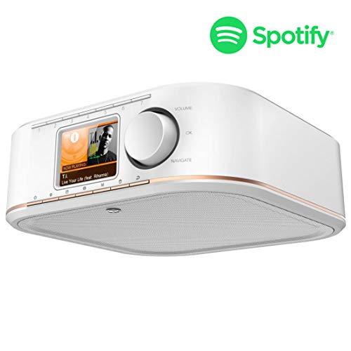 Hama WLAN Küchenradio Internetradio Unterbau (Spotify, unterbaufähig, 2,4 Zoll Farbdisplay, WiFi-Streaming, 2 Weckzeiten, Multiroom, Klemmmontage ohne Bohren, gratis Radio-App, Eieruhr) weiß/kupfer