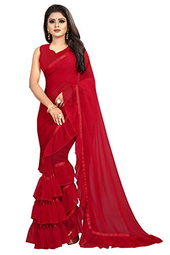 Market Magic World Women's Georgette Ruffle Frill Saree With Blouse Piece (Red)