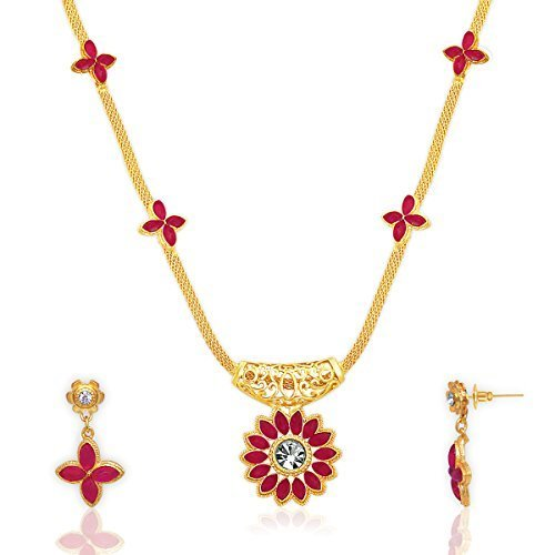 Spargz New Fashion Designer New Fashion Designer Gold Plated Alloy Metal Necklace Set For Women