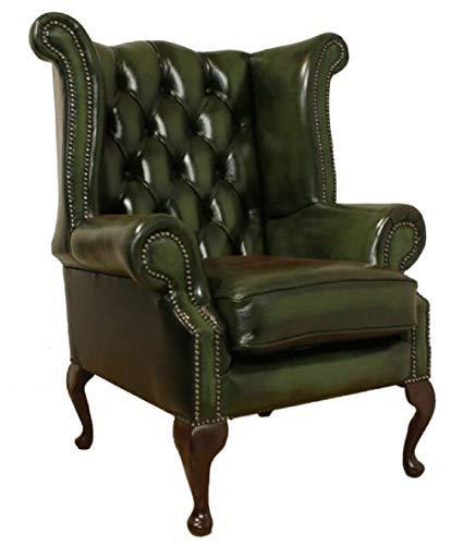 Sofas4u Chesterfield Queen Anne, Poltrona con Schienale Alto, Fabbricata nel Regno Unito, in Vera Pelle, Colore: Verde Antico