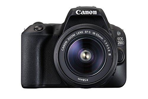 Canon EOS 200D Fotocamera Digitale Reflex, 24.2 MPx, con Obiettivo EF-S 18-55mm f/3.5-5.6 DC III e SDHC 8GB, Nero